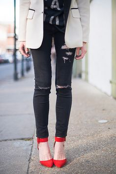 ripped denim + red shoes.