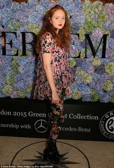 Lily Cole in clashing florals #LFW #Erdem