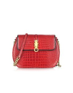 Class - Red Croco-Embossed Leather Shoulder Bag