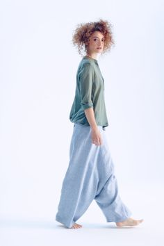 NEW / Blue Melange Linen Pants/ Extravagant Drop by AryaSense
