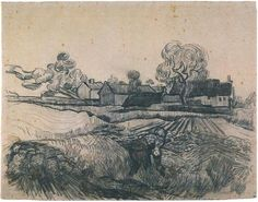 Cottages with a Woman Working in the Foreground  ::  Drawing, Pencil, pen  Auvers-sur-Oise: May, 1890