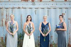 Real Weddings: Casey & Duncan's Intimate Lodge Wedding - beautiful, simple bridesmaid dresses Long Bridesmaid Dresses, Wedding Bridesmaids, Wedding Dresses, Denim Wedding, Blue Wedding, Lodge Wedding, Wedding Events, Intimate Weddings, Real Weddings