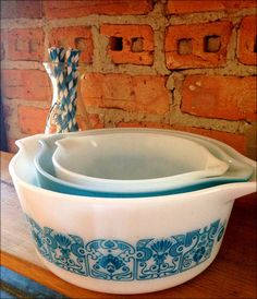 Vintage Turquoise Pyrex Casserole Set in Horizon Blue on Etsy, $27.00