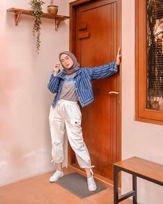 super Ideas for style hijab casual kemeja Hijab Casual, Hijab Chic, Ootd Hijab, Casual Hijab Styles, Hijab Fashion Casual, Casual Ootd, Casual Wear, Style Outfits, Casual Outfits