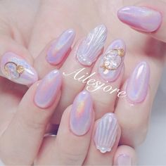 Korean Nail Art, Korean Nails, Square Nail Designs, Nail Art Designs, Nails Design, Cute Nails, Pretty Nails, Pastel Nail Art, Mermaid Nail Art