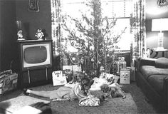 Christmas time at our house looked like this, except no TV in the living room.