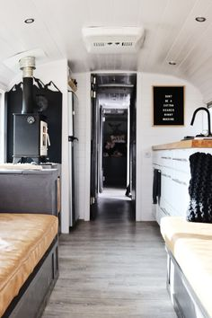Minimal converted school bus home apartment therapy. School Bus Tiny House, School Bus Camper, Old School Bus, Diy School, Rv Bus, School Buses, Bus Remodel, Trailer Remodel, Bus Living