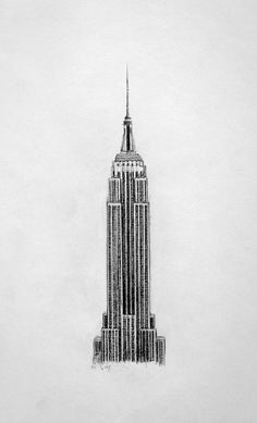 The Empire State Building, New York, Drawing by John Gordon Art (2013, graphite)