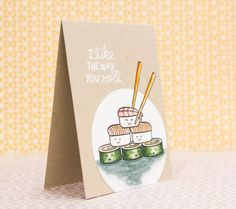 Have a sushi-loving friend? Maybe one that adores cute images? Or maybe someone who just loves a corny pun? THIS is the card for them.  This cute and unique handmade card is great for any occasion. Each hand stamped image has been watercolored by hand along with an adorable, one-of-a-kind embossed sentiment. This is NOT just a print - it is a 100% handcrafted product. You wont find anything like it in a store!  The card measure approximately 4.25x5.5 and is on a kraft base. It will come with…