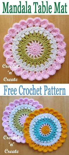 Pretty mandala table mat, free crochet pattern use on your tables or as a wall decoration. #crochetncreate #freecrochetpatterns #crochetmandala