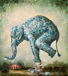 """""""The sleep of reason"""" © Kevin Sloan...elephant art"""