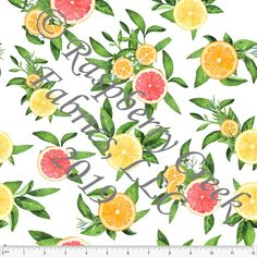 04e8fba73e2 White Yellow Tangerine Coral and Green Citrus Fruit Floral 4 Way Stretch  MATTE SWIM Knit Fabric, Club Fabrics