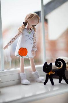 Halloween Cloth Doll with a Black Cat Tracy-Halloween Home Decor-Autumn/Fall Ornament-White/Black/Orange-OOAK Art Rag Doll-Interior Decor-UK