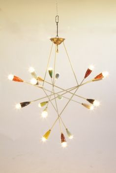 CONVERSO : Possibly Sarfartti for Arteluce, Multi Light Chandelier, Italy 1952c