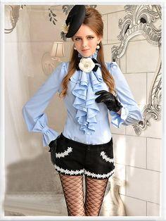 Morpheus Boutique  - Blue Chiffon Vintage Style Ruffle Layer Hem Flare Sleeve Shirt , €52.95 (http://www.morpheusboutique.com/blue-chiffon-vintage-style-ruffle-layer-hem-flare-sleeve-shirt/)