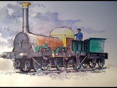 Lion - artist Graham Lewis Pen And Wash, Steam Railway, Train Art, Steam Engine, Steam Locomotive, Old Barns, Train Tracks, Wolf, Drawings