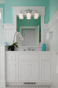 Master Bathroom Vanity - traditional - bathroom - grand rapids - Visbeen Associates, Inc. Master Bathroom Vanity, White Bathroom, Small Bathroom, Bathroom Ideas, Bathroom Beadboard, Wainscoting, Turquoise Bathroom, Bathroom Marble, Design Bathroom