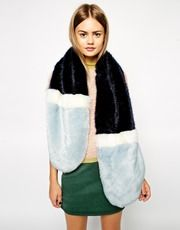 ASOS Faux Fur Colour Block Long Scarf