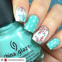 Snowflakes and polka dots by @sensationails4u #FunNailArt