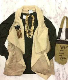 A vest is meant for the days where the sun only peeks around the clouds every so often. ⛅️ #xoxoAL4You #fallvest #fauxfur #ootd #apricotlane #shoplocal Wine Bag $19 The Weekend Vest $59 Comment or click to order! http://form.jotform.us/form/52044697810154