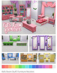 Kid's Room Furniture | Kids Stuff Pack | by nodelscc via tumblr | Sims 4 | TS4 I Maxis Match | MM | CC | Pin via sueladysims |