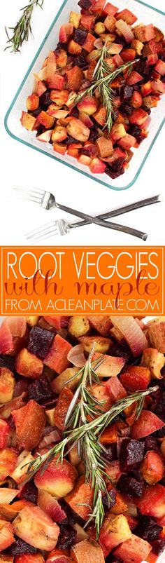 Easy Roasted Root Veggies in Maple Dressing recipe from acleanplate.com