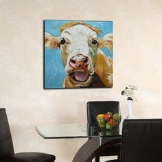 Hand-painted High Quality Modern Dairy Cattle Oil Painting On Canvas