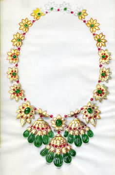 #TreasuresoftheOrient exhibition through May 31 at Van Cleef  Arpels Stoleshnikov boutique in Moscow #HighJewelry - Drawing of Indian inspired necklace, circa 1965-70, of the Maharani of Baroda  © Van Cleef  Arpels Archives