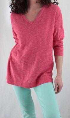 Sonoma Cotton Blend 3/4 Sleeve Vneck Patterned Sweater Pink Sz M #Sonoma #VNeck