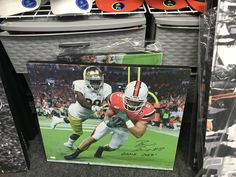 Miami Hurricanes Braxton Berrios Autographed Canvas Notre Dame TD Catch -JSA