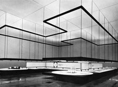 "From the 1961 Milan Fair, view of the hall ""Montecantini Operations in Southern Italy'. Architects, Franco Albini and Franca Helg; designer Bob Noorda. From Graphis 99, 1962"