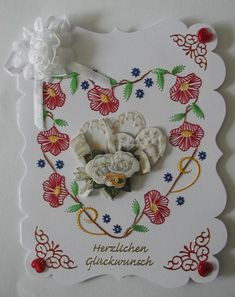 Hochzeitskarte in A5 mit Fadengrafik