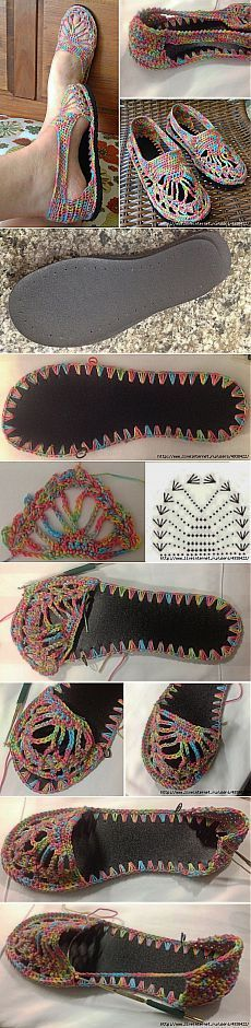 Paso a paso: cómo hacer zapatos o sandalias al crochet /Step by step: how to crochet shoes or sandals - Tejido Facil Crochet Sandals, Crochet Boots, Crochet Slippers, Love Crochet, Crochet Clothes, Crochet Baby, Knit Crochet, Bonnet Crochet, Crochet Motifs