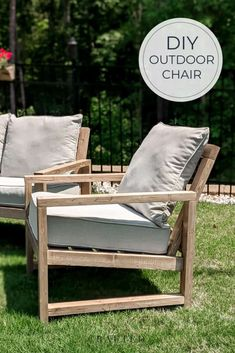Build this beautiful outdoor chair this weekend! These easy-to-follow plans are beginner-friendly. Complete your outdoor furniture set with a matching sofa too! Diy Furniture Tutorials, Woodworking Tutorials, Diy Furniture Plans, Diy Wood Projects, Outdoor Furniture Sets, Building Furniture, Outdoor Projects, Outdoor Chairs, Outdoor Sectional