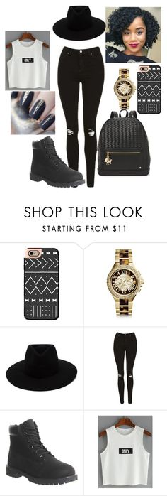 """""""Black and white style"""" by nassera-da-silva ❤ liked on Polyvore featuring Casetify, Michael Kors, rag & bone, Topshop, Timberland and Deux Lux"""