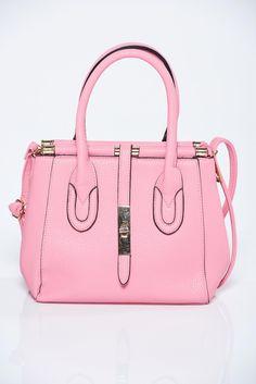 Comanda online, Geanta dama casual roz cu accesoriu metalic. Articole masurate, calitate garantata!
