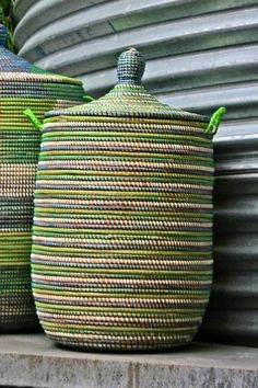 Wolof laundry hampers from Senegal, West Africa, bring beautiful artisan craftsmanship and vibrant color into our living spaces | domino.com