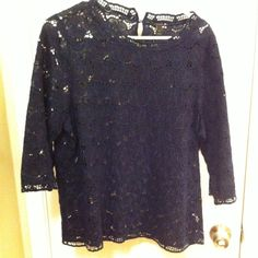 J. crew Lustee Lace Mockneck Tee in Navy Gently used top in great condition. This is for top only last pictures are for visual purposes. 100% cotton item# 28229 J. Crew Tops