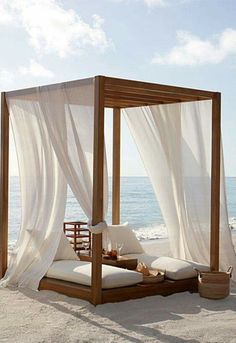 Cabana on the beach. Beach Cabana, Pool Cabana, Outdoor Cabana, Outdoor Spaces, Outdoor Living, Gazebos, Beach Bedding, Coastal Living, Outdoor Furniture