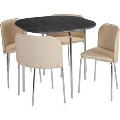 Hygena Amparo Black Dining Table And 4 Cream Chairs