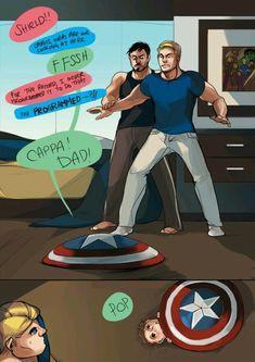 Steve and Tony // The shield is moving! Part 4 Superfamily Avengers, Stony Avengers, Spideypool, Marvel Avengers, Stony Superfamily, Funny Marvel Memes, Marvel Jokes, Dc Memes, Avengers Memes