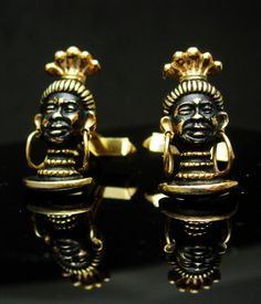 These unusual cufflinks also have moveable golden color earrings. Very detailed and quite the conversation piece. And remember, a personal well thought out gift shows you took the time to care about that special person in your life. Our items are classic, sometimes unusual and vintage and sometimes a little bizarre. Whether it is a memory from their past or something that reminds you of how special they are, purchasing from us is a unique idea that you can't get from a store every day. Just…