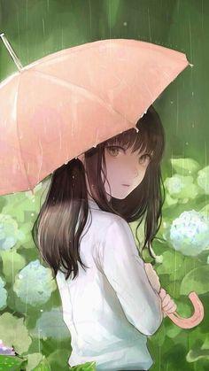 animal, anime, anime girl, art, flowers, illustration, kawaii, lovely, rain, umbrella