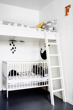 kids room in a small space - loft bed above the crib with Farg & Form clouds bedding