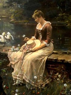Swans in the Park oil on canvas by Wilhelm Menzler, German, 1846-1926. Menzler was known for his portraits, many of them of women, genre scenes and flowers. His work can be found in museums and galleries in Budapest, Hungary, and Sydney, Australia.
