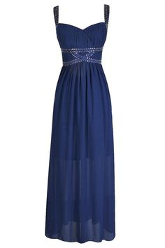 #Lily Boutique - #Lily Boutique Twinkling Trim Embellished Maxi Dress in Blue - AdoreWe.com