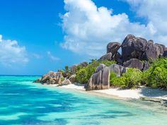 Anse Source - granite rocks at beautiful beach on tropical island La Digue in Seychelles All Inclusive Honeymoon, Best Honeymoon, Romantic Honeymoon, Honeymoon Destinations, Holiday Destinations, Inclusive Resorts, Honeymoon Ideas, Romantic Getaways, Beautiful Islands