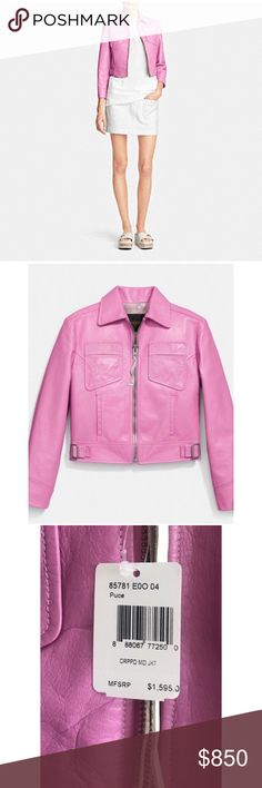 Coach Moto Jacket Beautiful bubblegum pink, super soft moto jacket. 💯 Authentic and Never worn. Tags still attached except where original price was. Which I have included a pic of. Coach Jackets & Coats