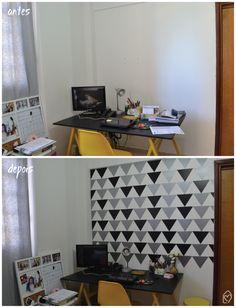 DIY – parede de triângulos   apê da Isa