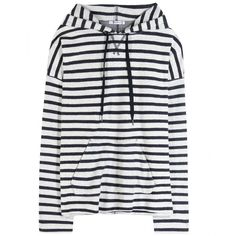 T by Alexander Wang Striped Cotton Hoodie ($165) ❤ liked on Polyvore featuring tops, hoodies, sweaters, jackets, blue, cotton hooded sweatshirt, striped top, hooded sweatshirt, t by alexander wang e striped hoodies